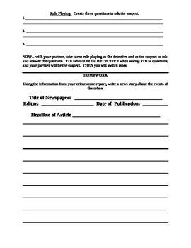 Inference Fiction: Crime Scene Report Worksheet