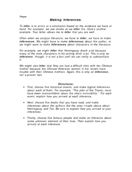 Inference Handout, assignment