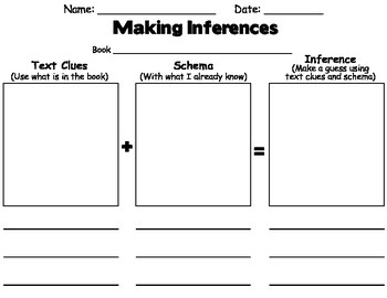 Inference/ Inferring Worksheet (Comprehension)