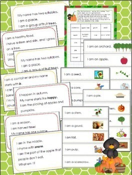 Apple and Pumpkin Riddles for Inference, Key Details, and Vocabulary