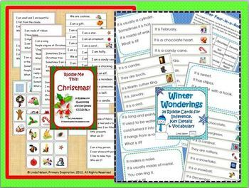 Inference, Key Details, and Vocabulary ~ Riddles Bundle for Christmas and Winter