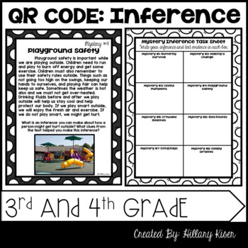 Inference Mysteries (QR Code Activity: 3rd and 4th Grade)