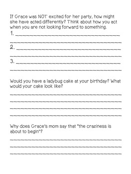Inference Passage and Questions Worksheet - Grace and the Birthday Party