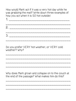 Inference Passage and Questions Worksheet - Mark and the Cold Day