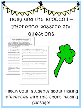 Inference Passage and Questions Worksheet - Molly and the Broccoli