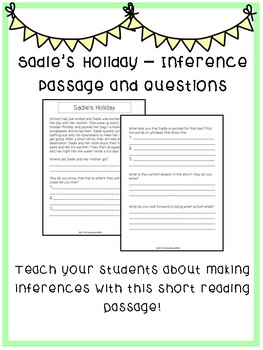 Inference Passage and Questions Worksheet - Sadie's Holiday