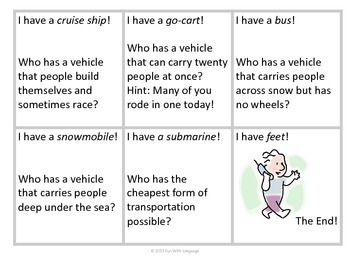 """Inference Practice with """"I have...Who has?"""" Game or ESL Vocabulary"""