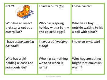 "Inference Practice with ""I have...Who has...?"" Game or Spring Vocabulary for ESL"