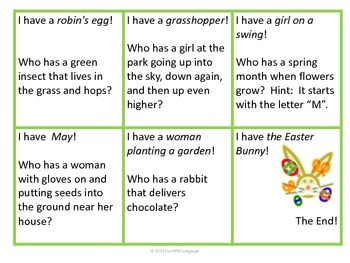 """Inference Practice with """"I have...Who has...?"""" Game or Spring Vocabulary for ESL"""