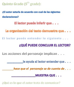 Inference Question Stems in SPANISH