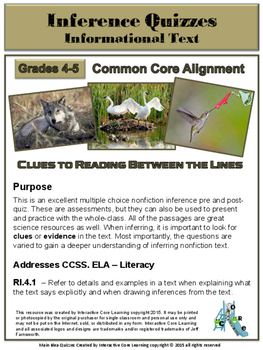 Inference Quizzes -- Tied to Common Core