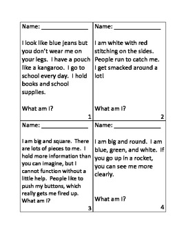 inference riddles for first day of school by lisa hicks tpt. Black Bedroom Furniture Sets. Home Design Ideas