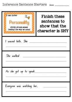 Inference Sentence Starters