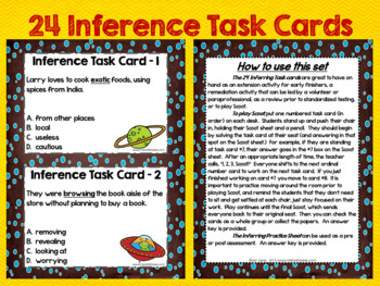 Inference #2 ~ 24 Task Cards, Scoot, Assessment for Differentiated Instruction