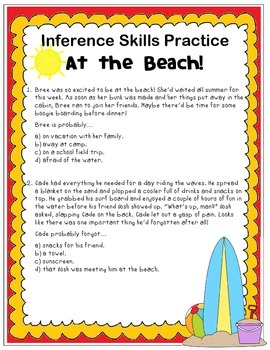 Inference Skills Practice: At the Beach!