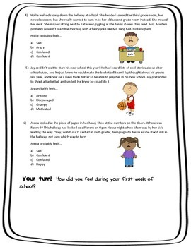 Inference Skills Practice: I'm Feeling It! The First Week of School!