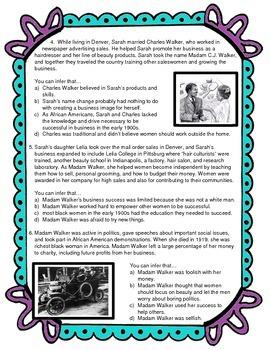 Inference Skills Practice: Madam C.J. Walker