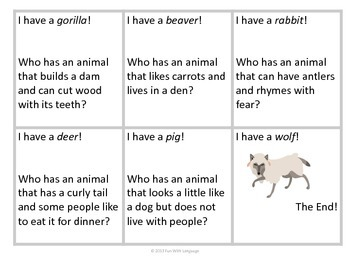 """Inference Skills Practice with """"I have...Who has...?"""" Game Animal Theme"""