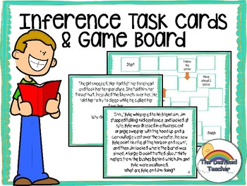 Inference Task Card Board Game Activity - Small Group Center Activity