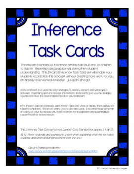Reading Inference Task Card Set - 24 Paragraphs and Questions Upper Grades
