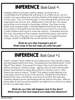 Inference Task Cards - 1/2 Page Reading Passages - Grades 5-8