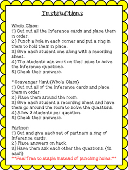 Inference Task Cards {1st and 2nd Grade}
