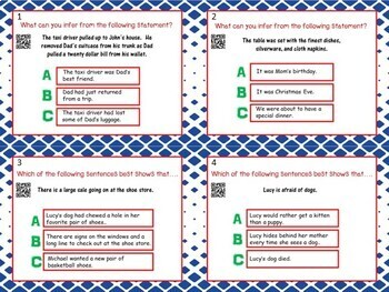 Inference Task Cards - 24 Cards w/ QR Codes!