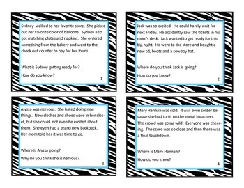 Inference Task Cards, Common Core, 20 Picture Cards, 20 Text Cards