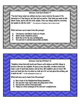 Inference Task Cards - Fiction