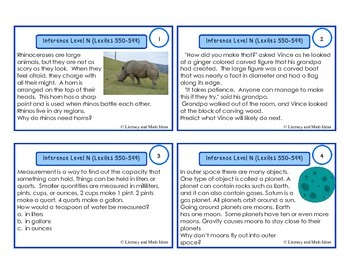 Inference Task Cards For Each Lexile/Guided Reading Level (Levels N,O,and P)