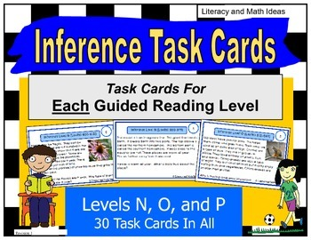 Inference Task Cards For Each Lexile/Guided Reading Level