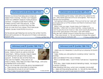 Inference Task Cards For Each Lexile/Guided Reading Level (Levels Q & R)