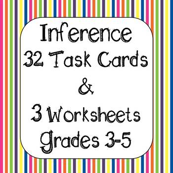 Inference - Making Inferences Task Cards and Printables Reading Strategy