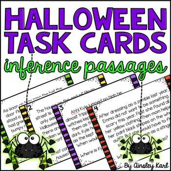Inference Task Cards- Halloween Themed - Reading Passages