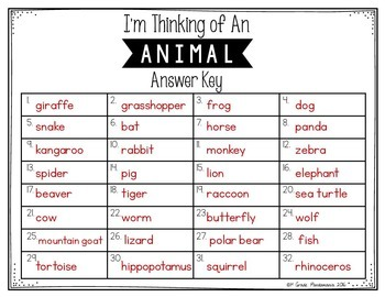 Inference Task Cards~I'm Thinking of An Animal