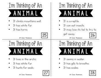 Making Inferences Task Cards I'm Thinking of An Animal