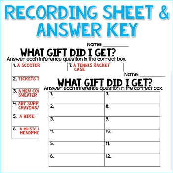 Inference Task Cards- Infer the Mystery Gift - Reading Passages