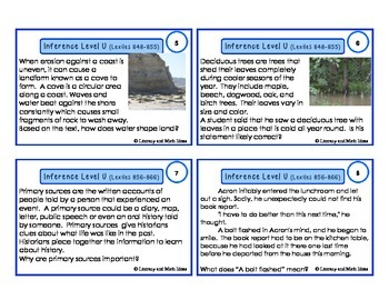 Inference Task Cards Lexile/Guided Reading Levels 775-886 (Levels S,T,U)