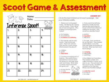 Inference #1 ~ 24 Task Cards, Scoot, Assessment for Differentiated Instruction