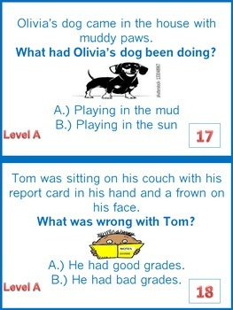 Inference Task Cards-What?-3 Levels-for Autism, Special Ed. or Early Learners.