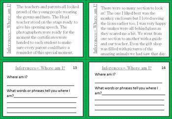 Inference Task Cards. Where am I? 20 descriptive paragraphs and tasks