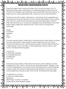 Inference Task Cards and Writing Activity