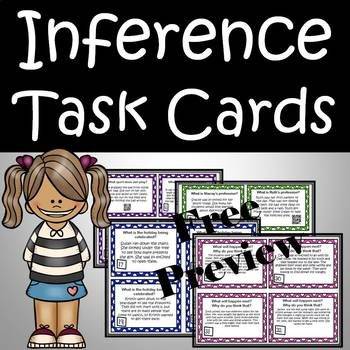 Inference Task Cards - making inferences reading skill FREE preview