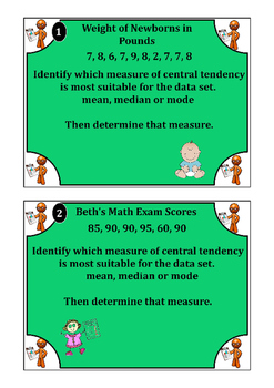 Inference Task Cards (mean, median, mode, box n whisker plots)