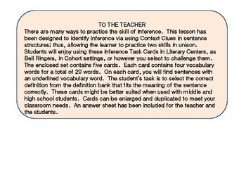 Inference Task Cards using Context Clues #6