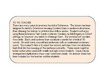 Inference Task Cards using Context Clues #4