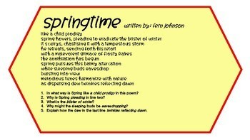 Inference Task Cards using Poetry  #2 (high school)
