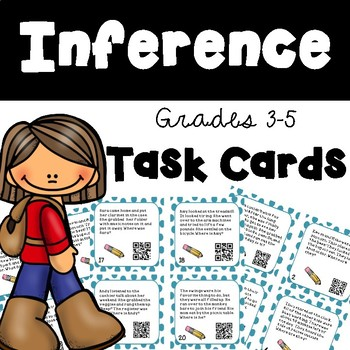 Inference Task Cards with and without QR Codes - Test Prep