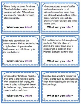 Inference Task Cards with Recording Sheets/Answer Keys