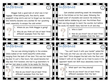 Inference Tasks Cards grades 3-5